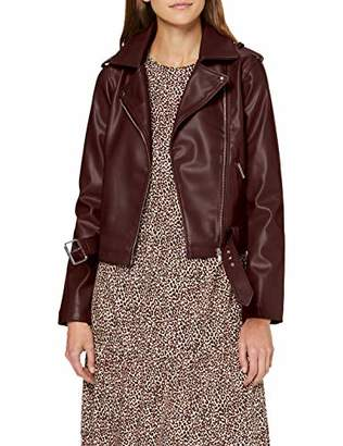 New Look Women's Faith Belted PU Biker Coat,(Size:)