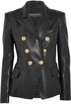 Balmain Double-breasted Leather Blazer - Black