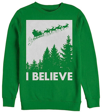 Fifth Sun Men's Sweatshirts and Hoodies KELLY - Kelly Green Santa's Sleigh 'I Believe' Crewneck Sweatshirt - Men