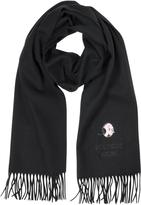 Moschino Solid Wool Olive Oil Long Scarf w/Fringe