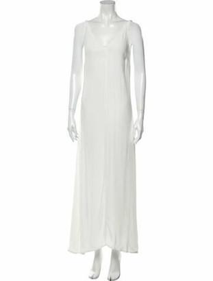 STAUD Scoop Neck Long Dress White