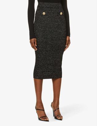 Balmain High-waist stretch-knit midi skirt