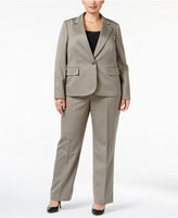 Le Suit Plus Size One-Button Striped Pantsuit