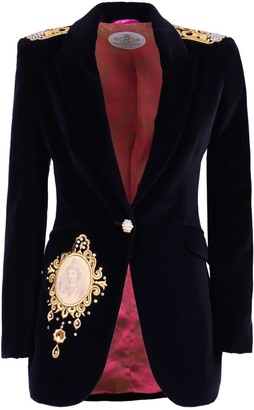 The Extreme Collection Navy Blue Rhinestone Blazer Estela