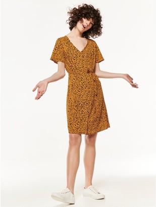 M&Co Button front leopard print dress