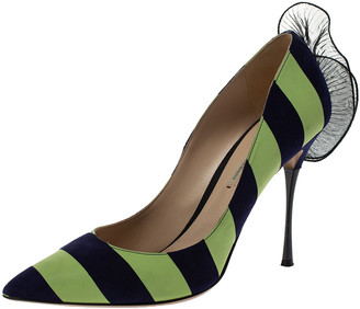 Nicholas Kirkwood Blue/Green Stripe Suede and Leather Ruffle Back Pointed Toe Pumps Size 41