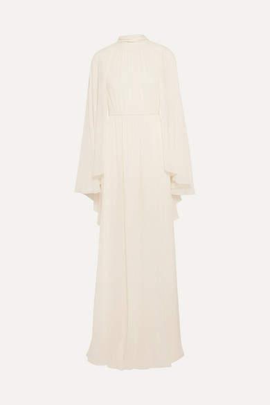 Giambattista Valli Cape-effect Silk-chiffon Gown - Ivory