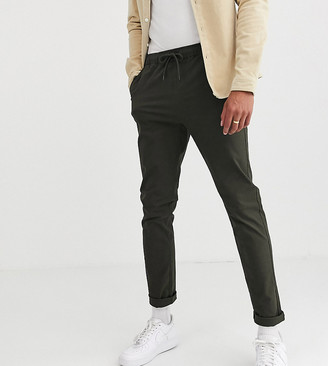 Asos DESIGN Tall slim chinos with elastic waist in dark khaki