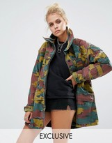 Milk It Vintage Oversized Military Jacket In Color Camo