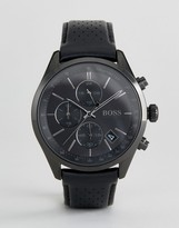 HUGO BOSS Boss By 1513474 Grand Prix Chronograph Leather Watch In Black