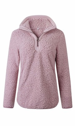 Les umes Womens Fuzzy Fleece Sherpa Sweatshirts Half Zipper Lightweight Pullover Outwear Tops with Pockets Black-Gray M