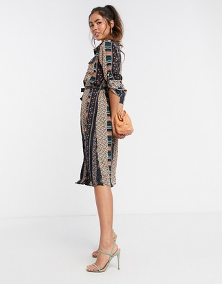 Liquorish midi shirt dress in stripe floral print