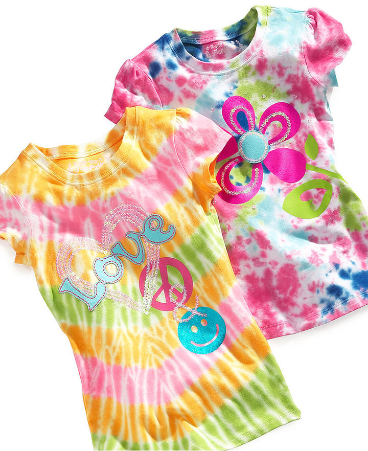 Flapdoodles Kids Shirt, Little Girls Tie-Dye Graphic Tee