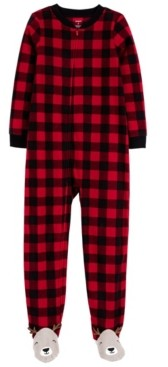 Carter's Little & Big Unisex 1-Pc. Buffalo-Check Reindeer Fleece Footie Pajamas