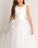 By Zoé White Label Girl's Bella Tulle 3D Applique Dress, Size 6-12