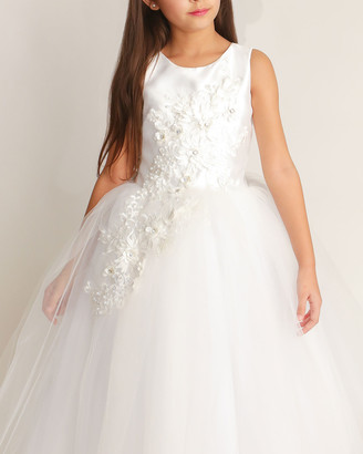 White Label By Zoe Girl's Bella Tulle 3D Applique Dress, Size 6-12
