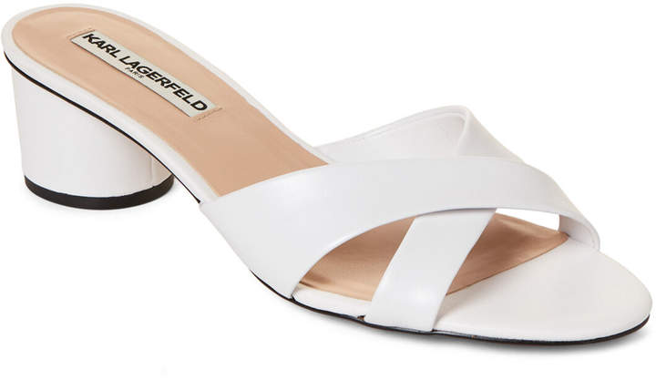 Karl Lagerfeld Paris Bright White Fawn Leather Slide Sandals