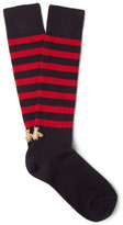 Gucci Embroidered Striped Stretch Cotton-blend Socks