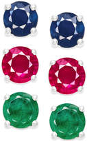 Macy's Sapphire, Ruby and Emerald Stud Earring Set in Sterling Silver (3 ct. t.w.)