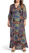 Melissa McCarthy Plus Size Women's Print Shirred Empire Maxi Dress