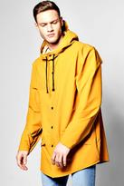 Boohoo Shower Resistant Longline Hooded Rain Mac mustard