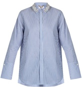 Muveil Embellished-collar cotton shirt