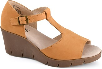 Cliffs By White Mountain Cliffs Adjustable Leather Wedge Sandals - Parisia