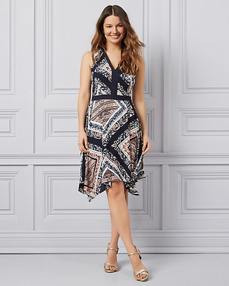 Le Château Scarf Print Crepe de Chine Asymmetrical Dress