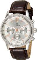 Titan Men's 'Neo' Quartz Metal and Leather Casual Watch, Color:Brown (Model: 1734SL01)