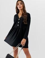 Asos Design DESIGN faux horn button v neck mini smock dress
