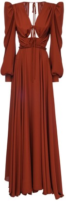 Yolancris Draped Long Dress W/ Cutout Detail