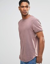 Asos Super Longline T-Shirt With Acid Wash And Curved Hem