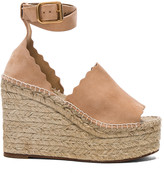 Chloé Suede Lauren Espadrille Wedges in Reef Shell | FWRD