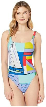 Polo Ralph Lauren Scenic Print Square Neck Mio One-Piece (Multi) Women's Swimsuits One Piece