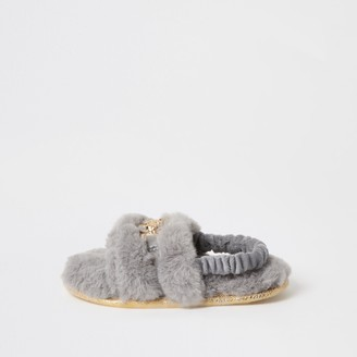 River Island Mini girls Grey faux fur panther slippers