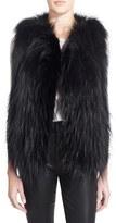 Tasha Tarno Women's 'Stripe' Genuine Silver Fox Fur With Leather Trim