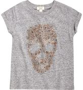 River Island Mini girls grey marl stud skull T-shirt