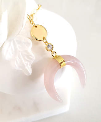 Divine Karma Women's Earrings Pink - Rose Quartz & 14k Gold-Plated Curved Pendant Necklace