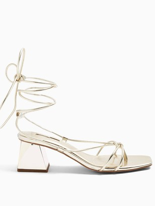 Topshop Nikitia Strap Heeled Sandals - Gold