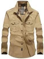 Hzcx Fashion Men's Military Cotton Turn Down Collar Long Sleeve Pockets Shirts 20170303-1591-69-OL-US M TAG L