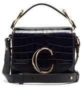 Chloé The C Mini Crocodile-effect Leather Shoulder Bag - Womens - Navy