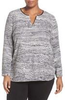 Nic+Zoe Plus Size Women's 'In Stitches' Print Split Neck Top