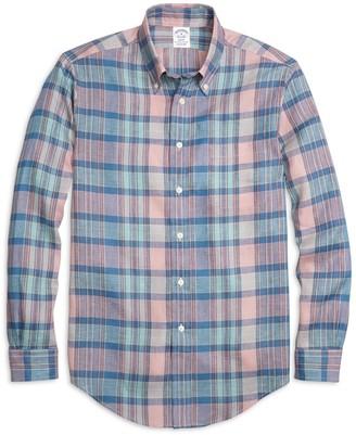 Brooks Brothers Regent Fit Plaid Linen Sport Shirt