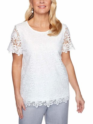 Alfred Dunner Women's Petite Solid Lace Top