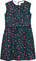 Oscar de la Renta Navy Floral Fine Velvet Shift Dress