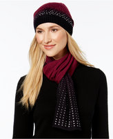 Rampage Rhinestud Ombré Beanie and Oblong Scarf Set, Only at Macy's