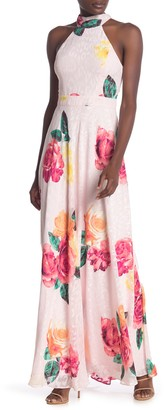 Laundry by Shelli Segal Floral Leopard Print Halter Sleeveless Maxi Dress