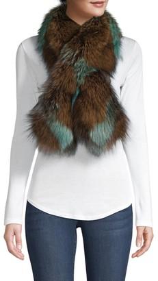 Adrienne Landau Silver Fox Fur Pull-Through Camo Scarf