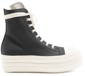 Rick Owens Ramones Exaggerated-sole High-top Rubber Trainers - Black White