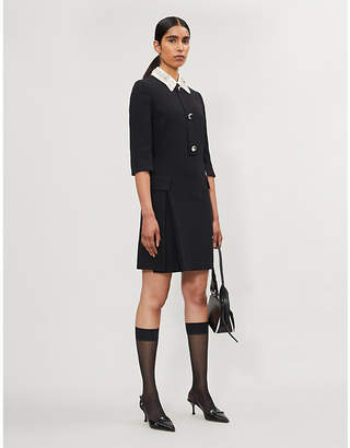 Prada Crystal-embellished wool knee-length dress